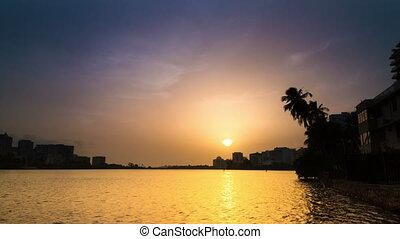 puerto, timelapse, coucher soleil, lagune, rico