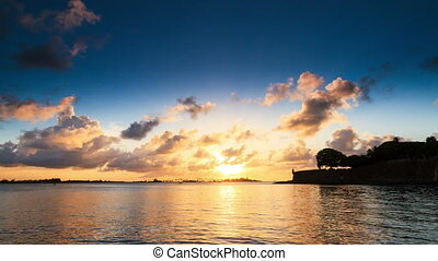 puerto, timelapse, coucher soleil, rico, baie