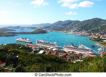 puerto, transatlánticos, crucero