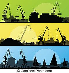 puerto, transporte industrial, ilustración, barcos, vector, ...