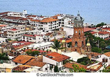 Puerto Vallarta, Mexico - Cityscape view from above with...