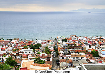 Puerto Vallarta, Mexico - View of rooftops and Pacific ocean...