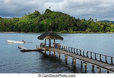 puerto, vanua, isla, muelle de madera, levu, savusavu, fiji