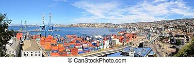 puerto, vista, valparaiso, chile, panorámico