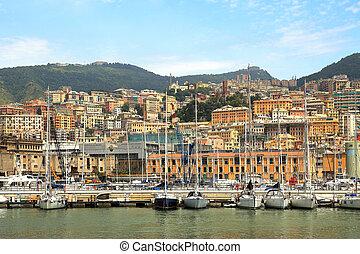 puerto, y, ciudad, de, génova, italy.
