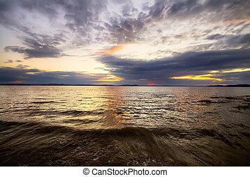 puesta de sol, vista marina