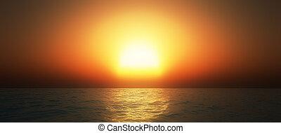 puesta sol océano