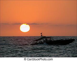 puesta sol pacífica, ocean.