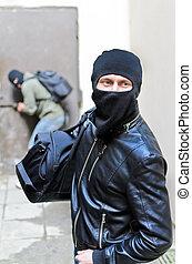 puesto de vigilancia, ladrón, door., tries, uno, segundo, burglary., abierto