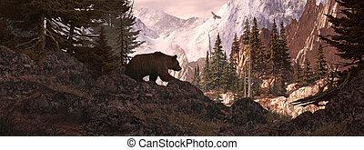 puesto de vigilancia, oso pardo, silueta, oso