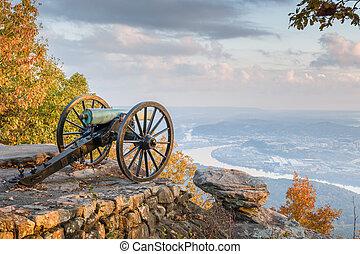 puesto de vigilancia, tennessee, vista montaña, estados...