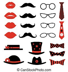 puesto foto, cumpleaños, y, fiesta, vector, conjunto, con, labios, bigotes, anteojos, sombreros, corbata de lazo