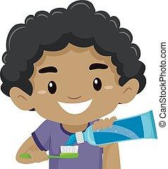 puesto, niño, cepillo de dientes, pasta dentífrica