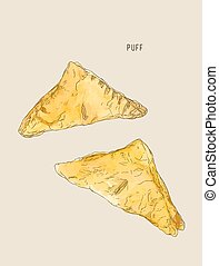 puff or pie pastry , hand drawn sketch water color vector.