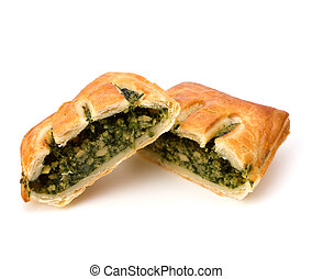 Puff pastry. Healthy pasty with spinach. - Puff pastry...
