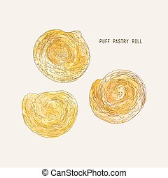 puff pastry roll , hand drawn sketch water color vector.