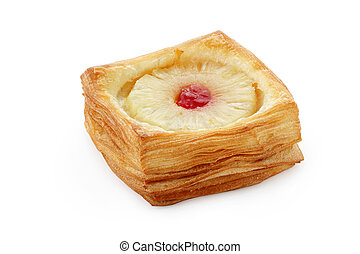puff pastry with pineapple on white background isolated