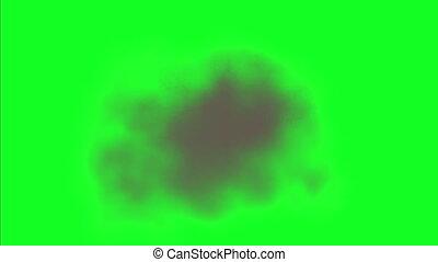 Puff Smoke In Chroma Key. Smoke Explosion On Green Screen.