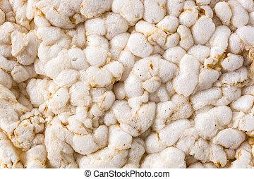 Puffed rice cake background.