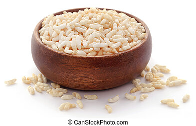 Puffed rice in a bowl over white background