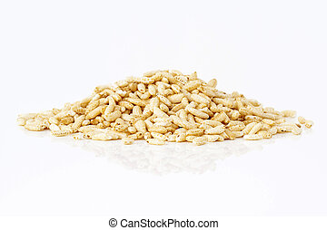 Puffed rice on white background