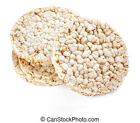 close up of a puffed rice snack on white background with clipping path