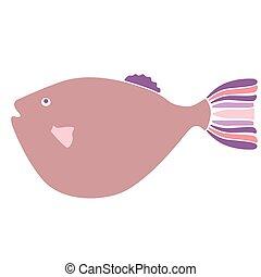 puffer fish flat illustration