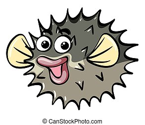 Puffer fish with happy face