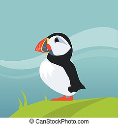 Puffin Bird In Iceland Flat Bright Color Simplified Vector...