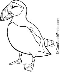 puffin cartoon coloring page - Black and White Cartoon...