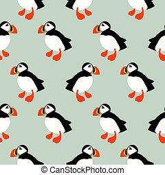 Puffin seabird seamless vector pattern. Mint ice background...