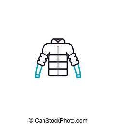 Puffy jacket vector thin line stroke icon. Puffy jacket...