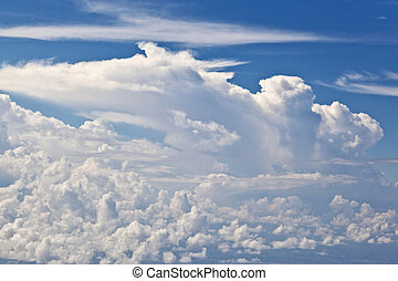 puffy white cloud with blue sky