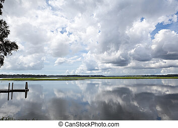 Puffy White Clouds Dock Reflected Smooth May River Bluffton...