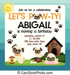 Pug Birthday Invitation