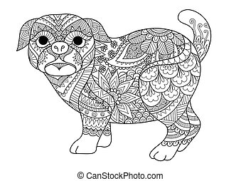 Line art design of cute pug dog for design element, t shirt design and adult coloring book page. Vector illustration