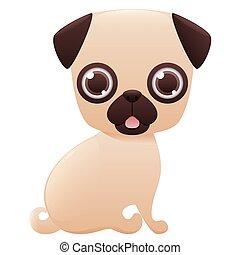 Pug cute cartoon character