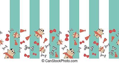 Pug Dog Bow Tie Tutu Party Hat Bone Vertical Stripes Frame Border seamless pattern