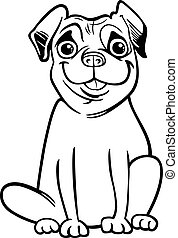 pug dog cartoon for coloring book - Black and White Cartoon...