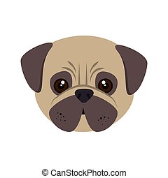 pug dog cartoon - pug breed dog canine pet animal. puppy...