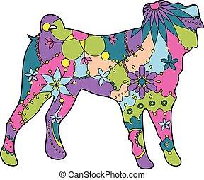 Pug dog colorful