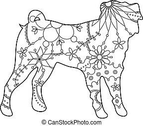 Pug dog coloring