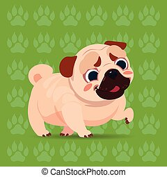 Pug Dog Happy Cartoon Sitting Over Footprints Background Cute Pet Flat Vector Illustration