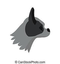 Pug dog icon, flat style