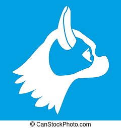 Pug dog icon white isolated on blue background illustration