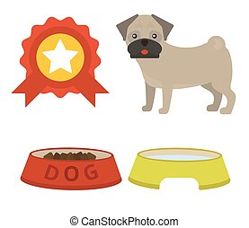 Pug dog playing vector illustration elements set flat style puppy domestic pet accessory.