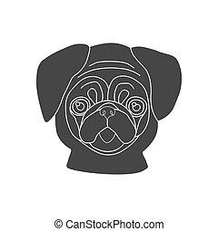 Pug dog silhouette