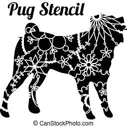 Pug dog stencil