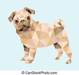 Pug dog triangle low polygon style.