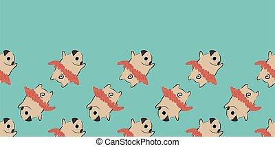 Pug Dog Tutu Dance Frame Border seamless pattern.